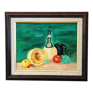 1980s Still Life Oil on Canvas Framed Painting For Sale