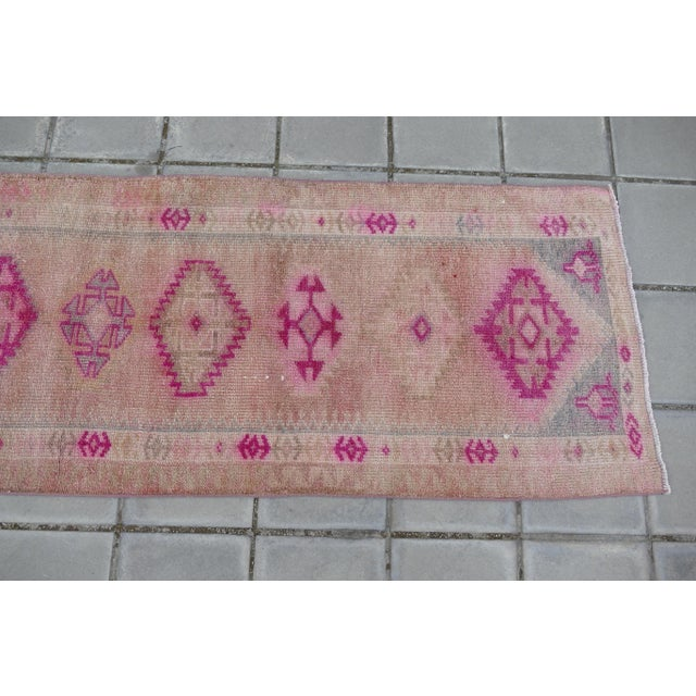 1970s 1970s Vintage Turkish Kurdish Pink Runner- 2′8″ × 12′5″ For Sale - Image 5 of 11