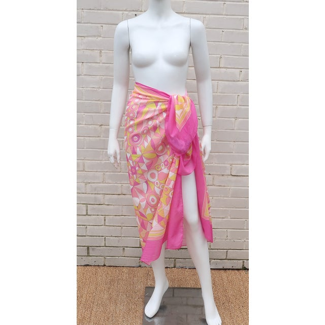 Boho Chic Large Emilio Pucci Cotton Sarong Length Scarf For Sale - Image 3 of 12
