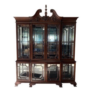 American Classical Henkel Harris Mahogany China Cabinet For Sale