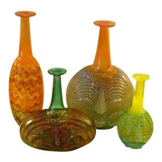 """Rare Kjell Engman """"Rio"""" Art Glass Bottle Group for Kosta Boda - Set of 4 For Sale"""