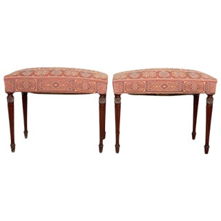 Pair of Modernist Rectangular Upholstered Window Benches or Stools For Sale