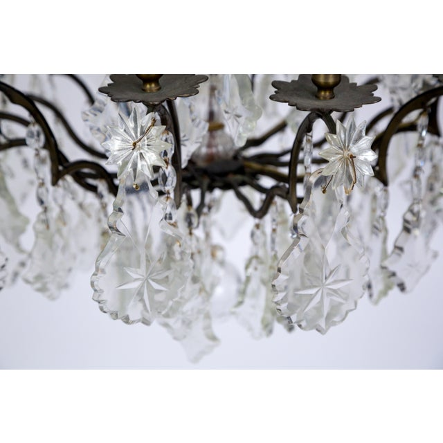Early 20th Century Multi Crystal 15-Arm Birdcage Chandelier For Sale - Image 9 of 13
