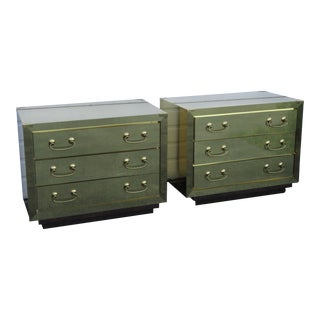 Hollywood Regency Brass Commode Large Nightstands Bedside Tables - a Pair For Sale