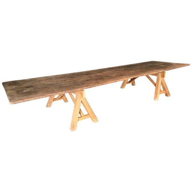 Sawhorse Cocktail Table with Reclaimed Wood Top For Sale - Image 4 of 4