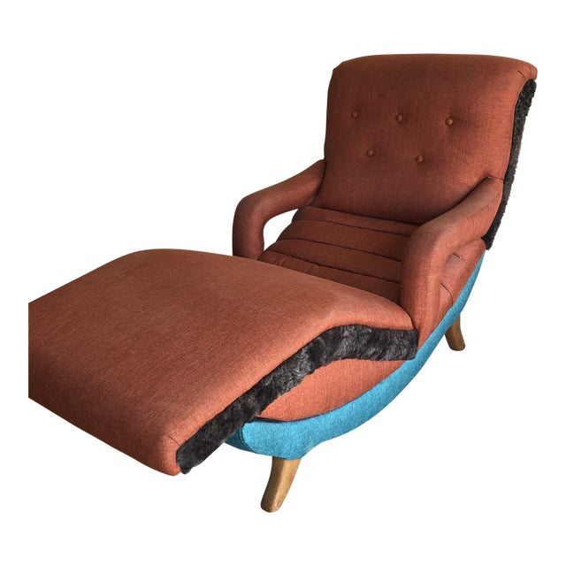 This is an original 1950's recliner chair. It has been reupholstered in 3 different fabrics. A synthetic linen and a low...
