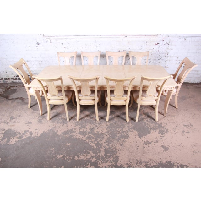 Bernhardt Mediterranean Style Carved Maple Dining Set With Ten Chairs For Sale - Image 13 of 13