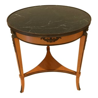 20th Century Empire John Widdicomb Round Green Marble Top Side Table For Sale