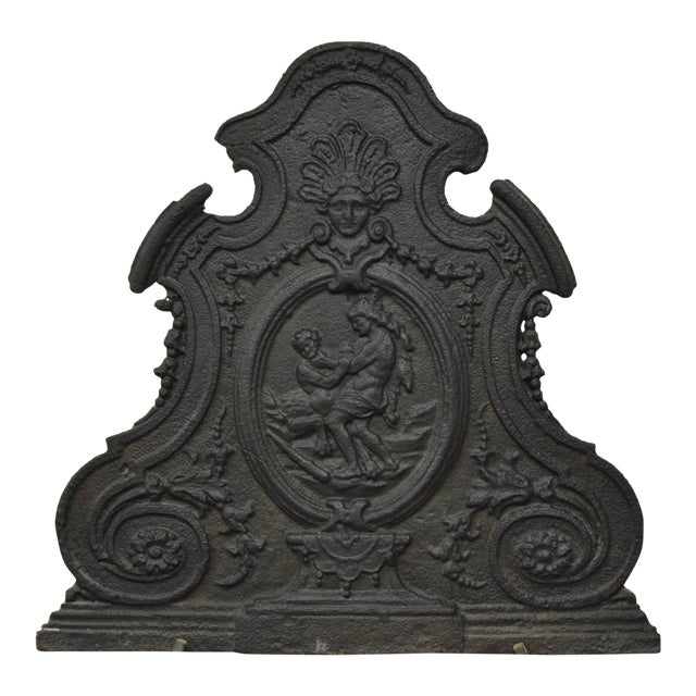 Antique 18th Century Cast Iron French Hercules and Antaeus Fireback For Sale