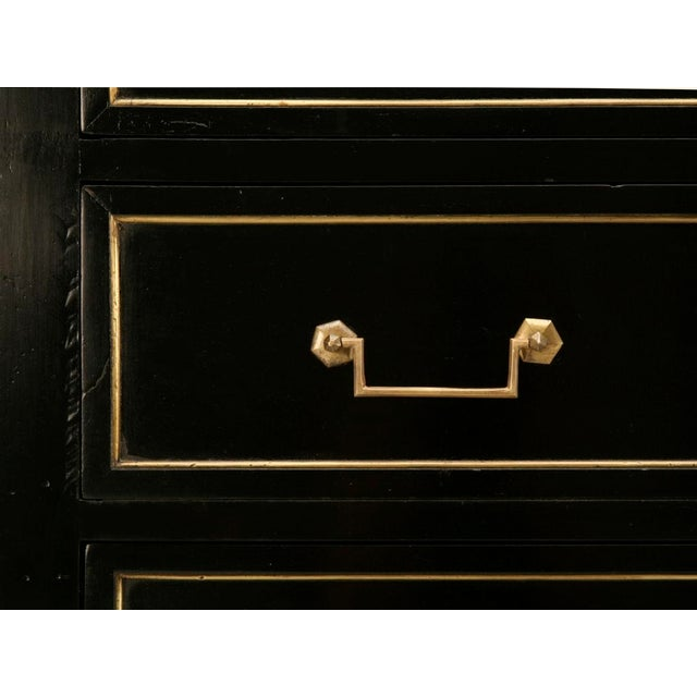 Gold Antique French Louis XVI Ebonized Mahogany 3 over 3 Commode w/Marble For Sale - Image 8 of 10