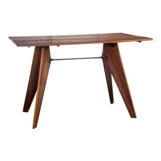 Mid-Century Modern Prouve Style Artisan Wood Dining Utility Solvay Table For Sale