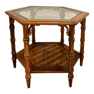 Vintage Hollywood Regency Faux Brown Bamboo Wood and Glass Side Table For Sale