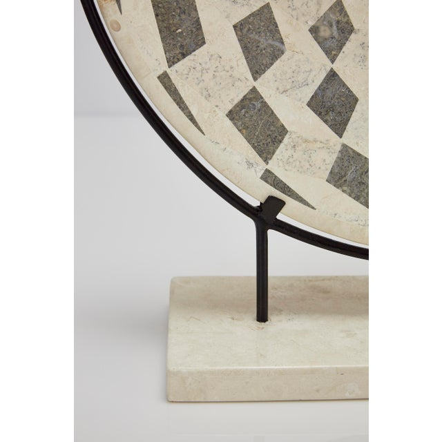 "1990s Contemporary Marquis Collection Tessellated Stone ""Illusion"" Plate on Iron Stand For Sale - Image 10 of 12"