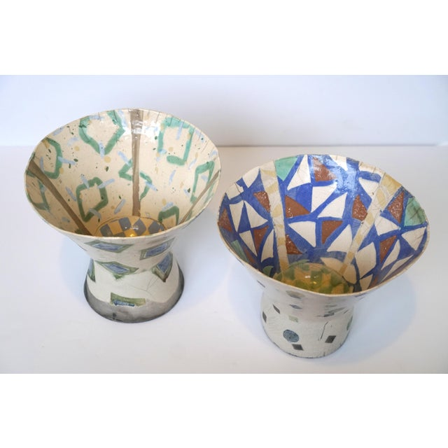 Rustic Patterned Pottery Vases - A Pair - Image 8 of 8