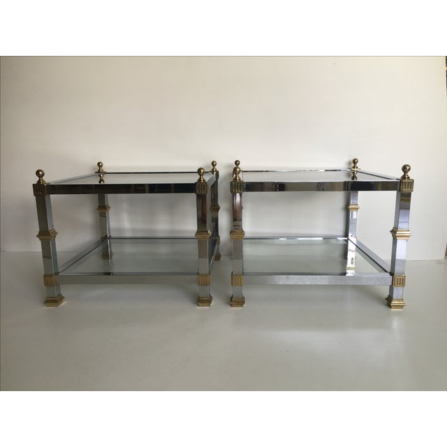 1970s Vintage Chrome & Brass Tables - Pair - Image 4 of 5