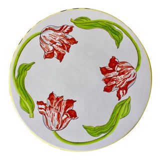 Italian Hand-Painted Ceramic Cake Plate-Tulips For Sale