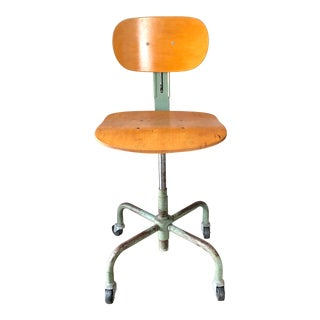 1969 Garrett Tubular Products Bentwood Turquoise Steel Adjustable Drafting Stool For Sale