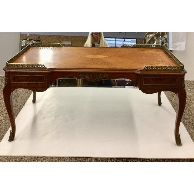 Art Deco Antique Inlaid Glass Top French Coffee Table For Sale - Image 3 of 13