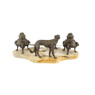 20th Century Bronze & Marble Stone Inkwell With Dog