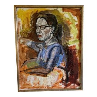 Mid Century Framed Portrait by Jerry Buchanan For Sale