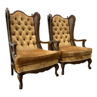 Mid Century Velvet Cane Lewittes Wingback Chairs- A Pair For Sale