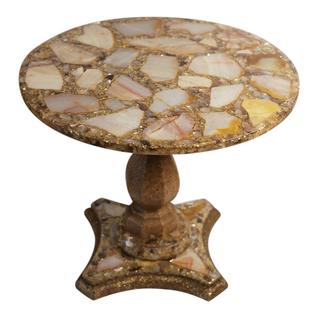 Arturo Pani Onyx Abalone Shell Gold Glitter Side Table For Sale
