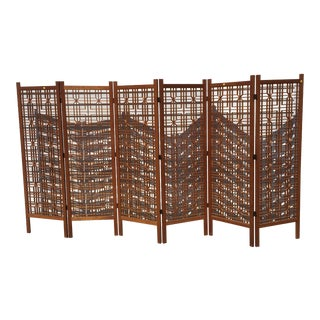Mid-Century Teak 6 Panel Room Divider For Sale