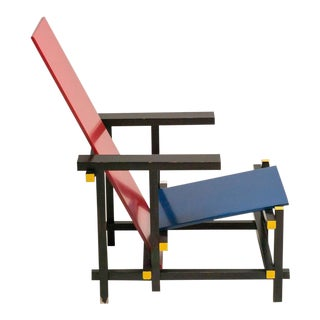 Early Red and Blue Chair by Rietveld for Cassina For Sale