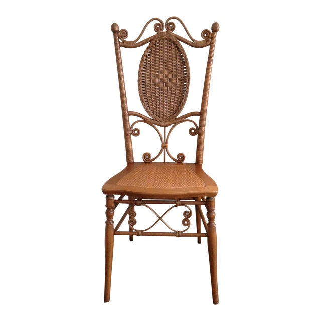 Heywood Brothers Wakefield Antique Victorian Wicker and Cane Chair For Sale