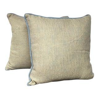 Blue & Gold Kravet Pillows - A Pair For Sale