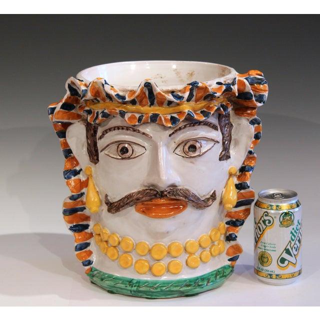 Large Italian Sicilian Pottery Head Vase For Sale - Image 10 of 11