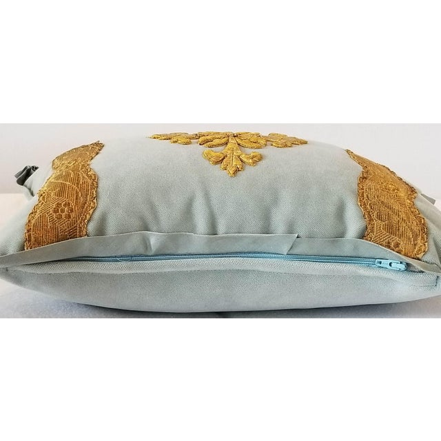 Belle Epoque Antique French Ecclesiastical Embroidered Metallic Cross Applique on Custom Down Pillow For Sale - Image 3 of 6