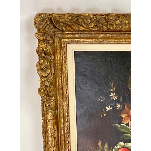"""This timeless Chelsea House Oil Painting features Floral Still Life Subject Matter, Antiqued Gold Frame, and """"Pierry""""..."""