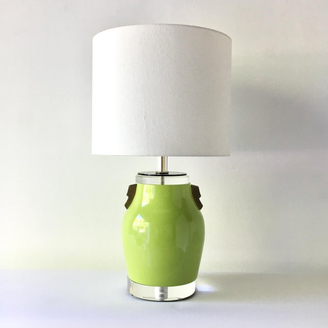 Single Lime Green Glazed Ceramic Table Lamp 1980s For Sale - Image 4 of 4