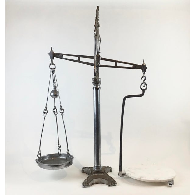 19th C. English Table Scale with a unique steel pillar, beam, pan and marble weighing platform. By Hunt & Co. London,...