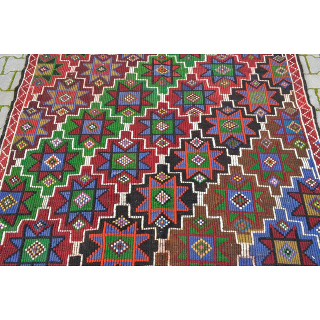Green Handwoven Turkish Kilim Rug. Traditional Oushak Area Rug Braided Kilim - 6′ X 13′5″ For Sale - Image 8 of 12