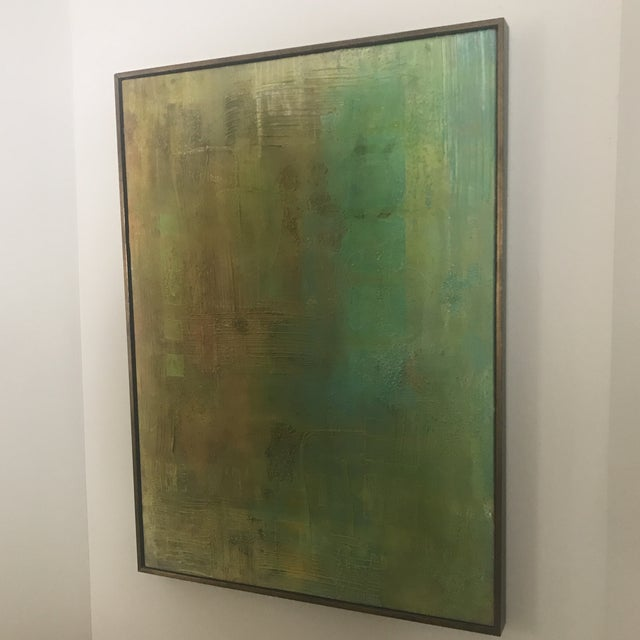 Abstract Aqua Textural Painting - Image 4 of 6