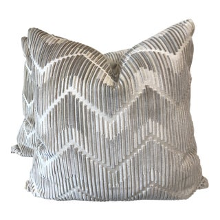 """Kravet Couture """"High's and Lows"""" Velvet in Stone 22"""" Pillows-A Pair For Sale"""