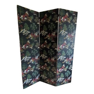 Vintage Folding Screen Room Divider, Wallpaper Chinese Motif, Full Height For Sale