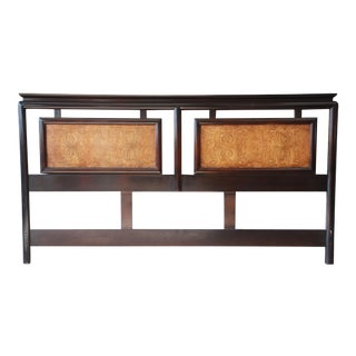 Century Furniture Burlwood and Black Lacquer Chin Hua Chinoiserie King Size Headboard For Sale