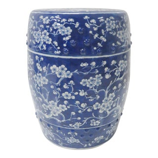 Chinese Blue & White Floral Garden Stool