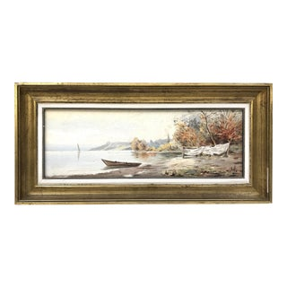 1960s Boat on the Lake Shore Landscape Painting
