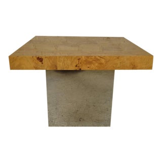 Sleek Milo Baughman Burl Table For Sale