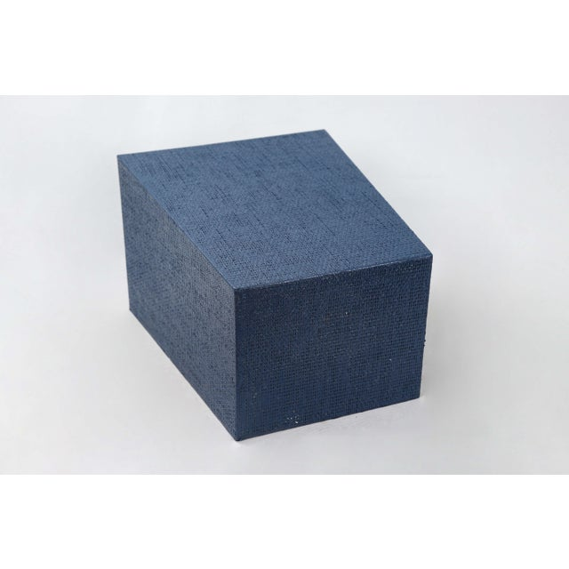 Blue Linen Covered Waste Basket For Sale In New York - Image 6 of 7