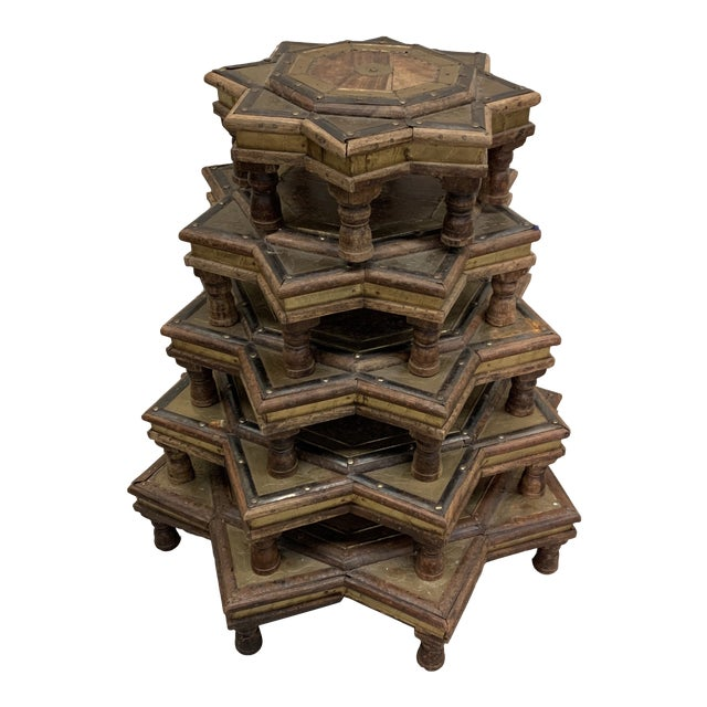 Vintage Moroccan Star Stacking Tables For Sale