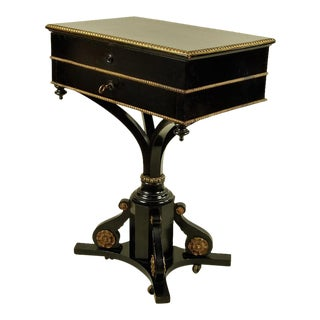 19th Century Side Table Ebony With Gilt Detail For Sale