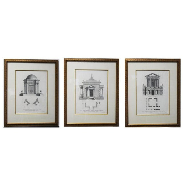 Antique 1759 William Chambers Chromolithographs on Architecture - Framed Set of 3 For Sale - Image 11 of 11
