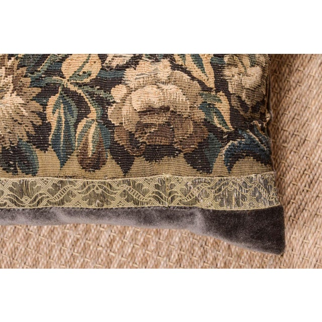 Contemporary 18th Century Large Lumbar Tapestry Pillow For Sale - Image 3 of 6
