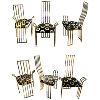 Vintage Italian Brass Dining Chairs in the Style of Pierre Cardin - Set of 6 For Sale
