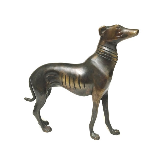 Mid 20th Century Vintage Mid Century Heavy Bronze Greyhound Dog Figurines- A Pair For Sale - Image 5 of 12